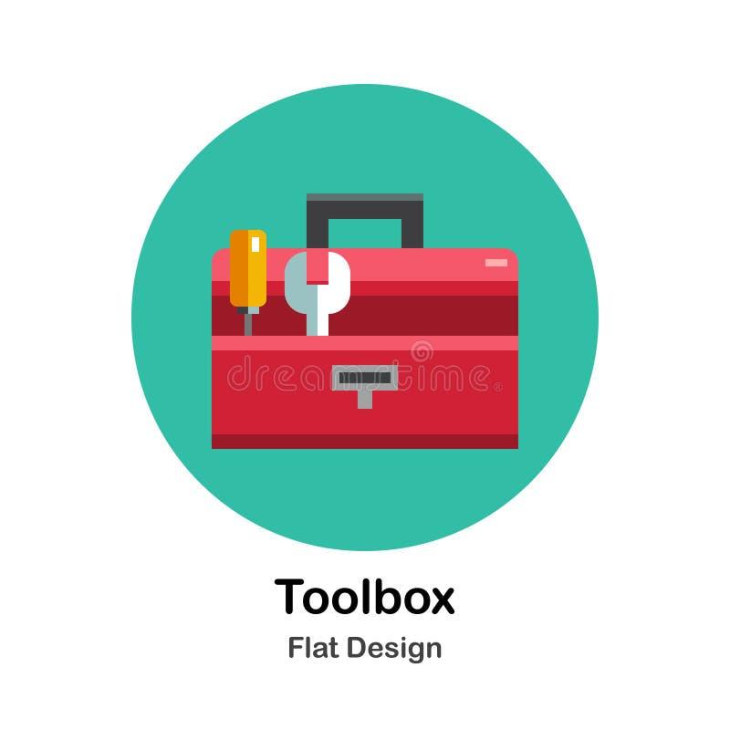 Icono plano de la caja de herramientas ilustración del vector