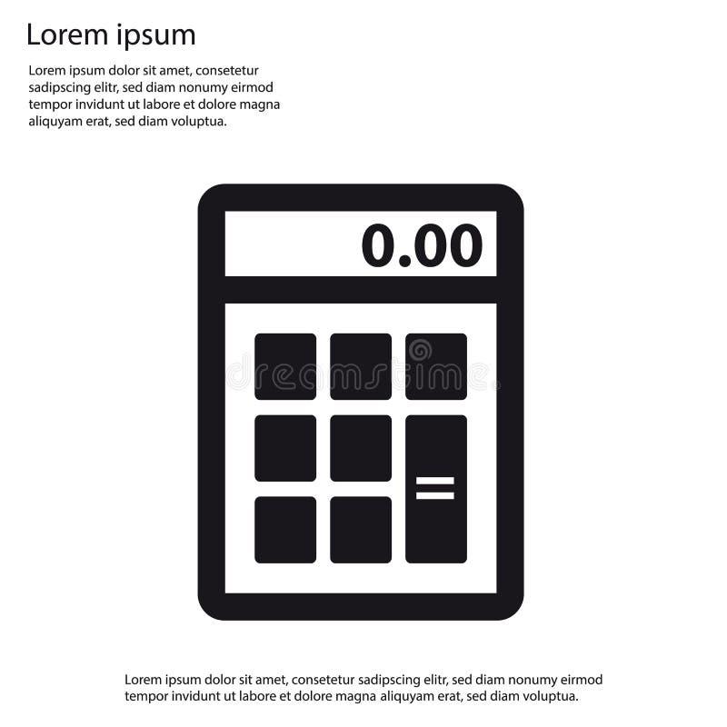 Icono plano de la calculadora - ejemplo del vector - lorem ipsum stock de ilustración