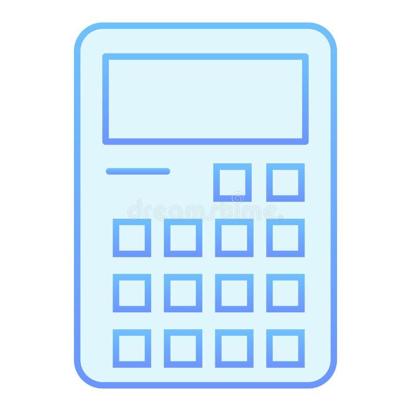 Icono plano de la calculadora Iconos azules que consideran en estilo plano de moda Dise?o del estilo de la pendiente del c?lculo, stock de ilustración