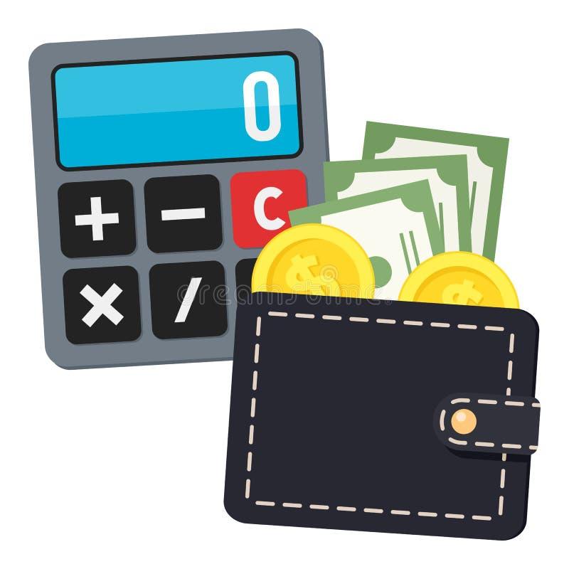 Icono plano de la calculadora y de la cartera negra en blanco ilustración del vector
