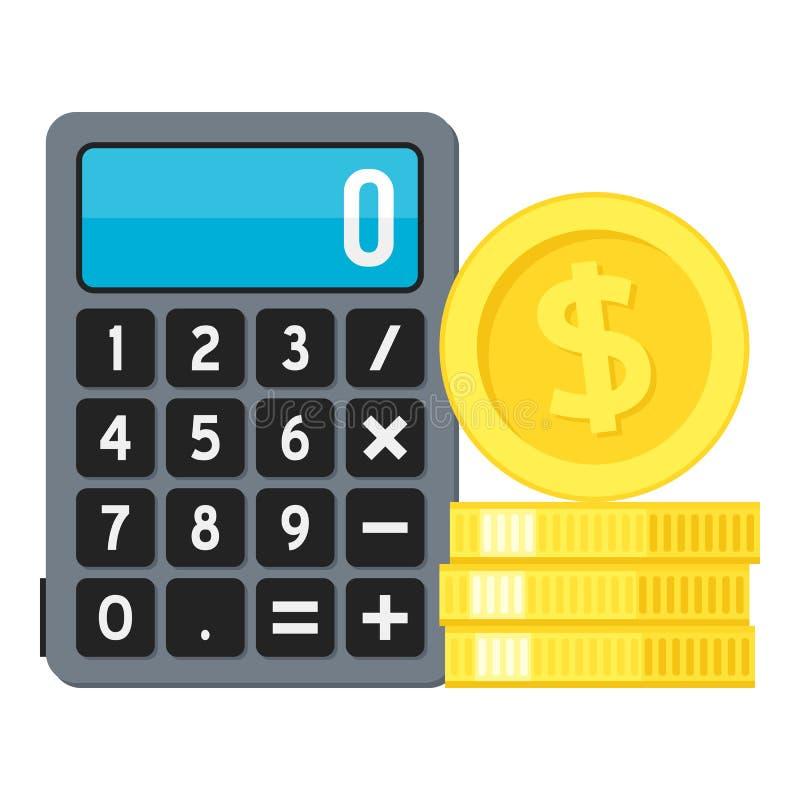 Icono plano de la calculadora y de las monedas de oro en blanco ilustración del vector
