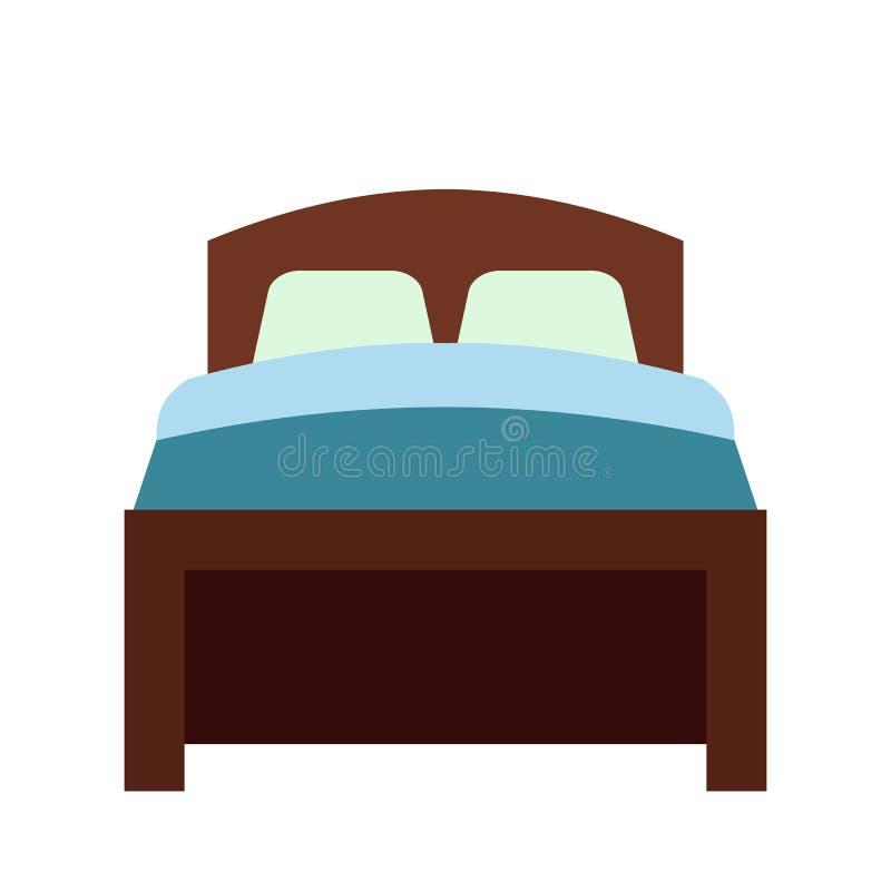Icono plano de la cama ilustración del vector