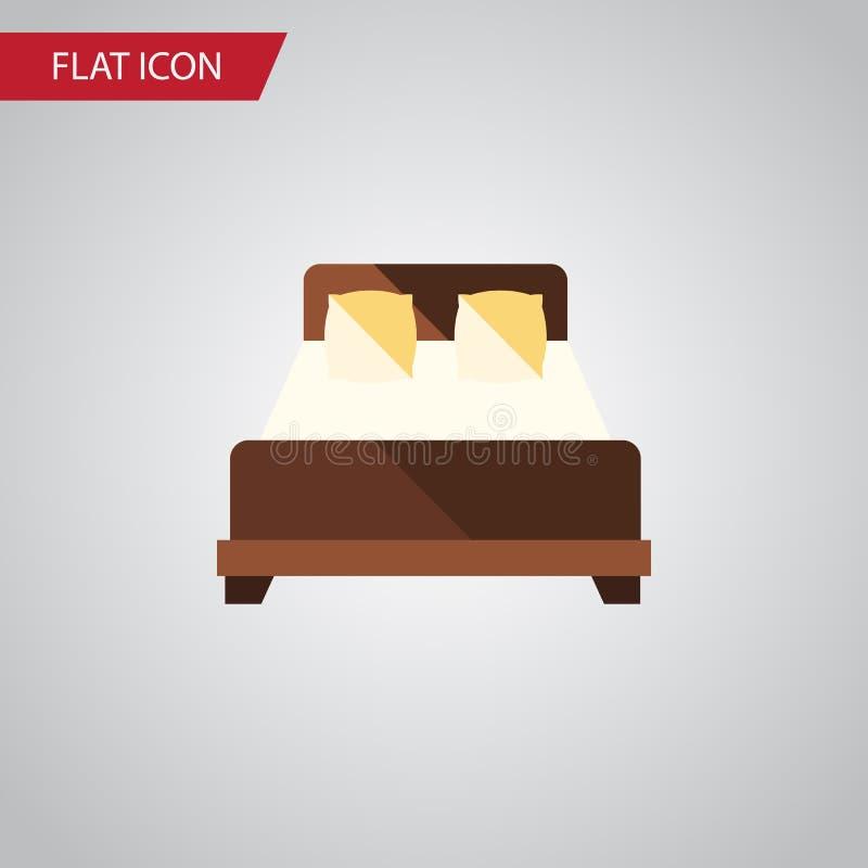 Icono plano de la cama matrimonial El elemento del vector del colchón se puede utilizar para el colchón, doble, concepto de diseñ stock de ilustración
