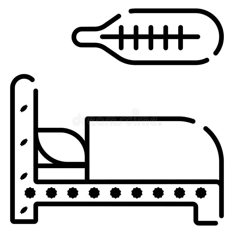 Icono plano de la cama y del term?metro stock de ilustración