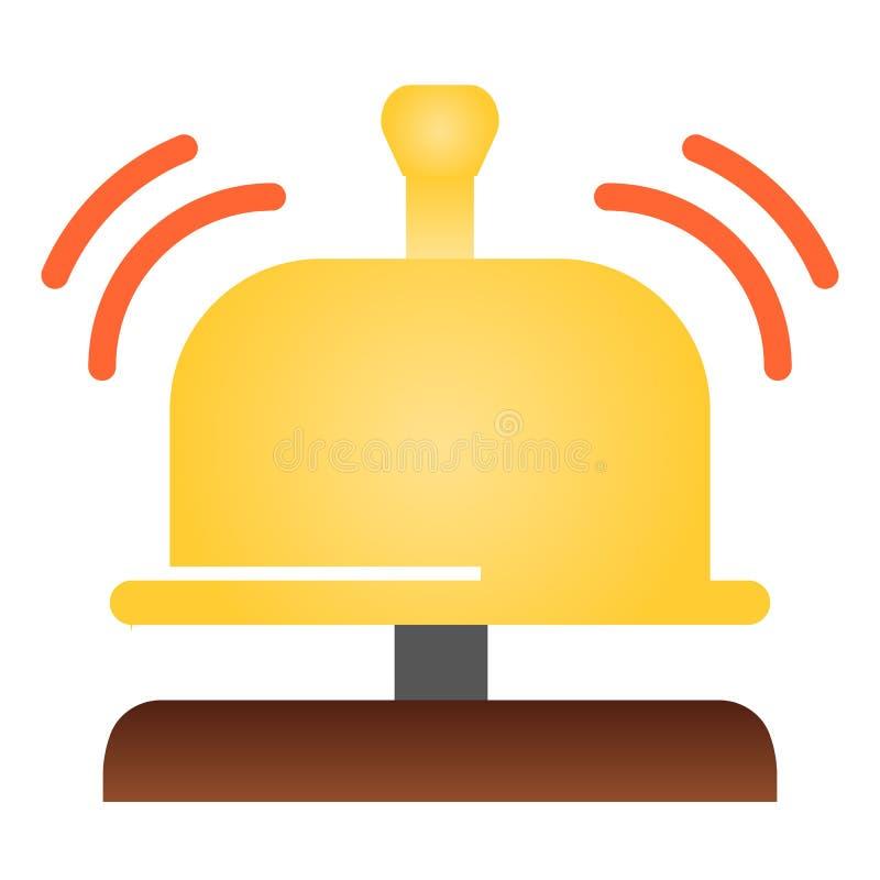 Icono plano de la campana de la recepción Iconos del color de la campana del hotel en estilo plano de moda Diseño alerta sano del ilustración del vector