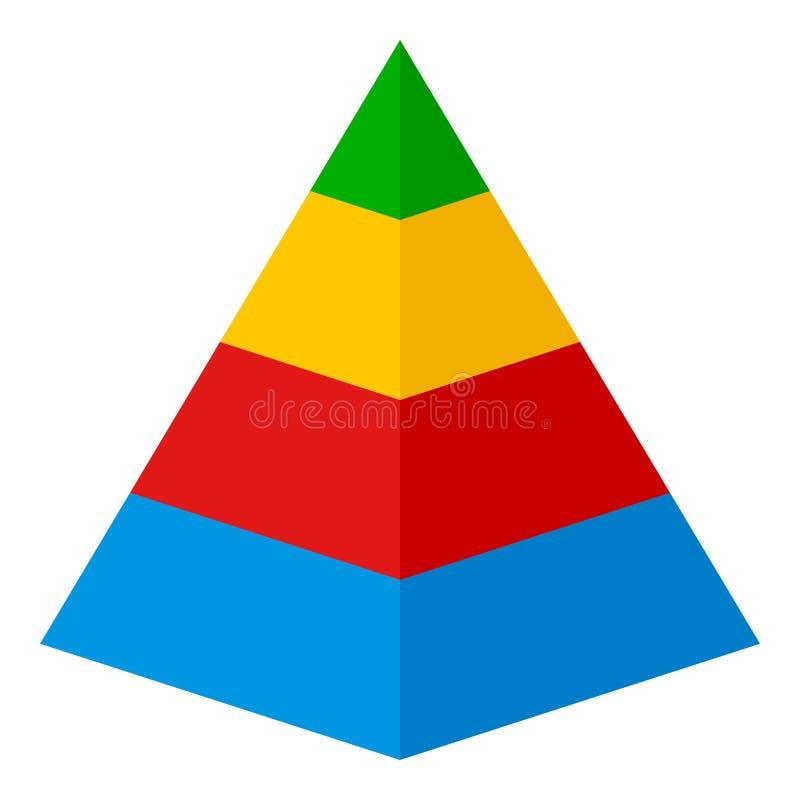 Icono plano de la carta de la pirámide aislado en blanco libre illustration