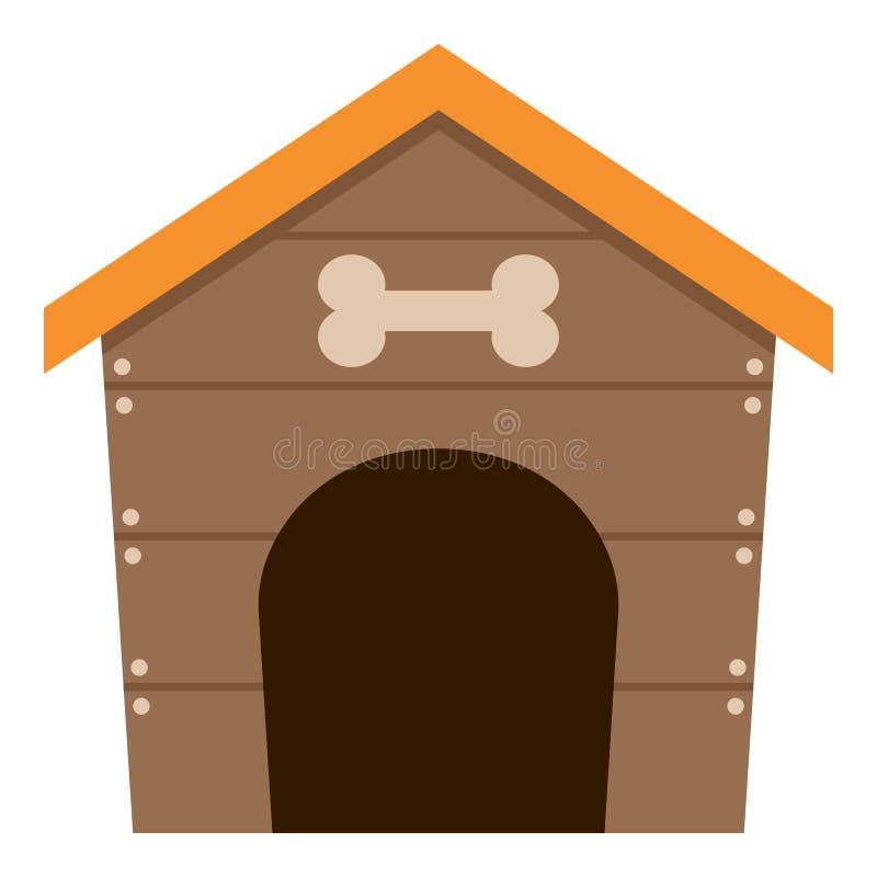 Icono plano de la casa de perro casero aislado en blanco ilustración del vector