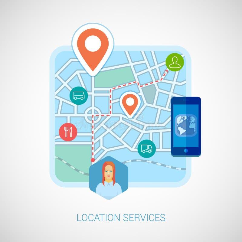 Icono plano de la ciudad de la navegación móvil local del mapa ilustración del vector