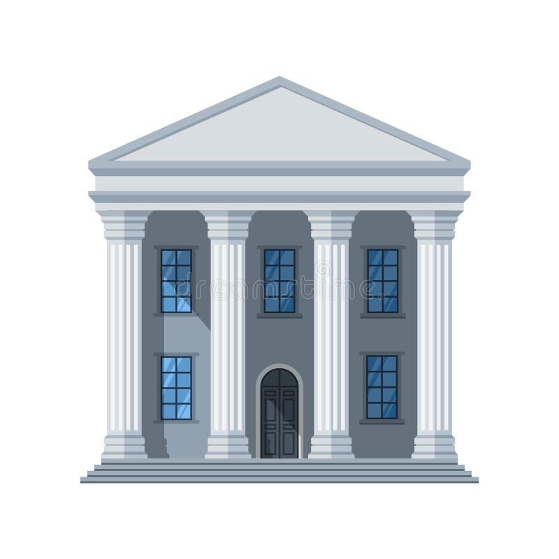 Icono plano de la construcción pública del vector Edificio administrativo de la ciudad aislado en el fondo blanco libre illustration