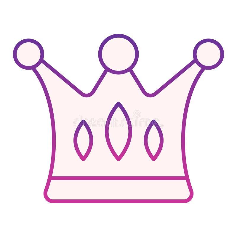 Icono plano de la corona Iconos púrpuras de los derechos en estilo plano de moda Dise?o majestuoso del estilo de la pendiente, di stock de ilustración