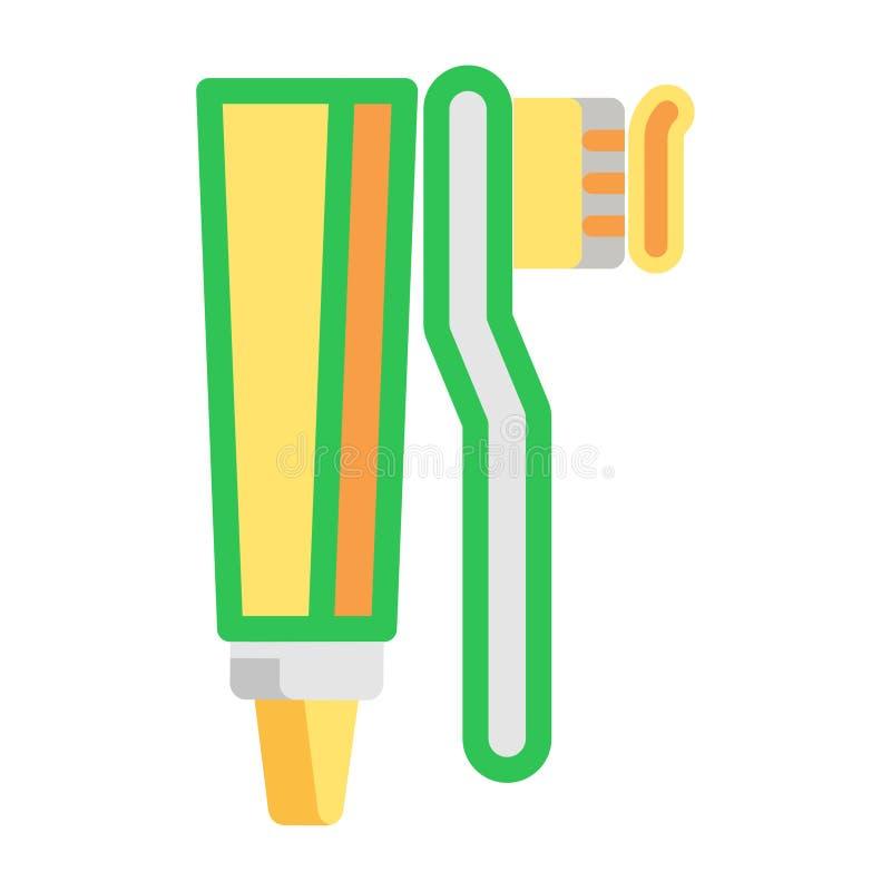 Icono plano de la crema dental y del cepillo de dientes Articule los iconos limpios del color en estilo plano de moda Diseño del  libre illustration