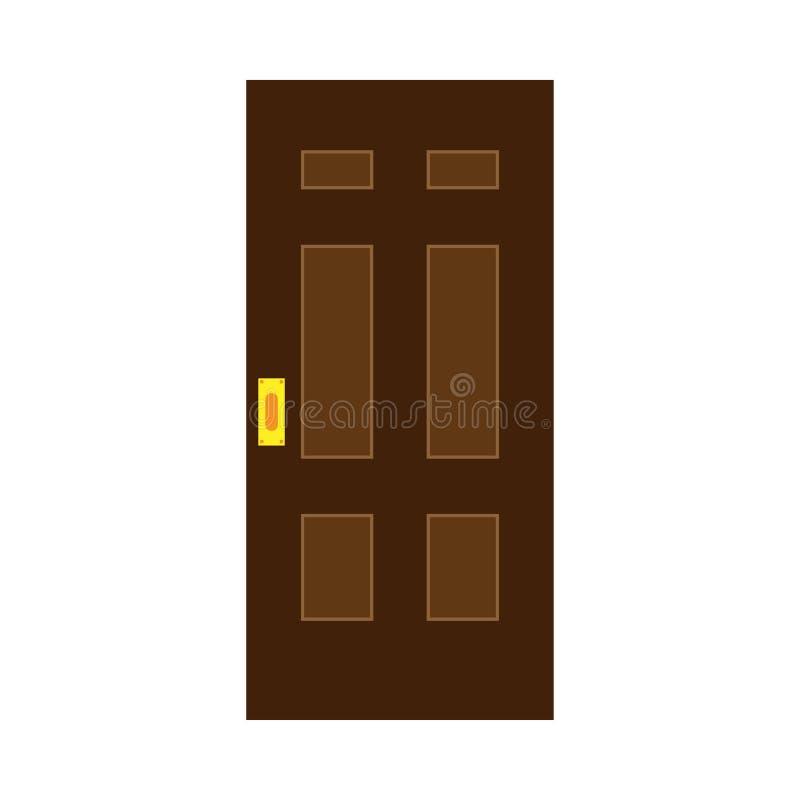 Icono plano de la decoración de la puerta de la seguridad del vector exterior de la entrada Entrada de la casa imágenes de archivo libres de regalías