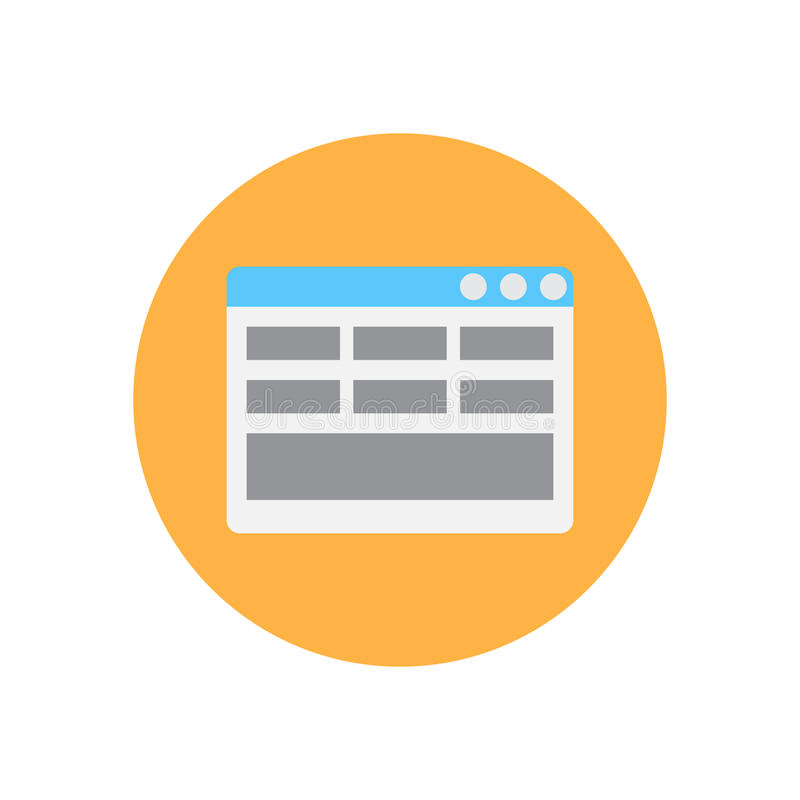 Icono plano de la disposición de la página web Botón colorido redondo, muestra circular del vector, ejemplo del logotipo stock de ilustración