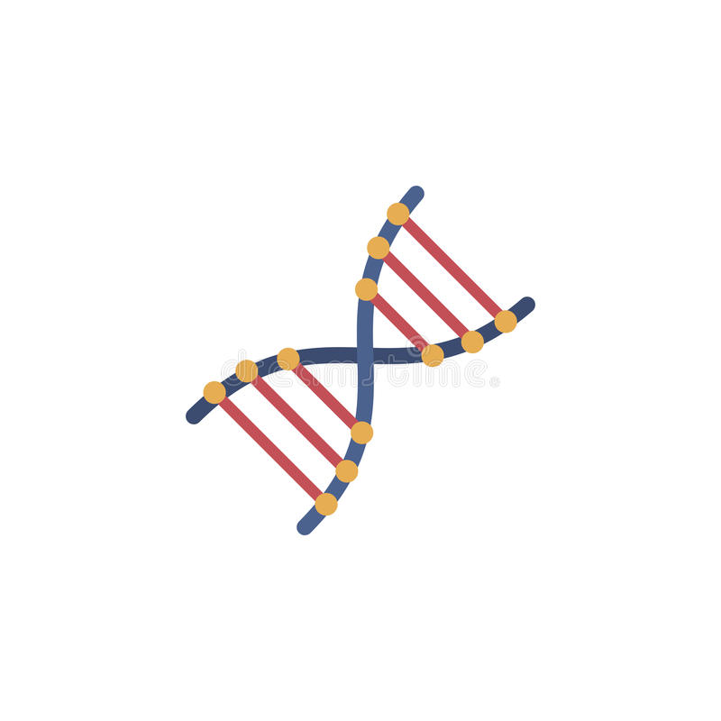 Icono plano de la DNA del vector stock de ilustración