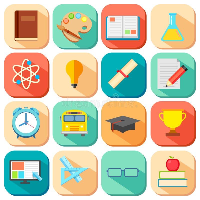 Icono plano de la educación ilustración del vector