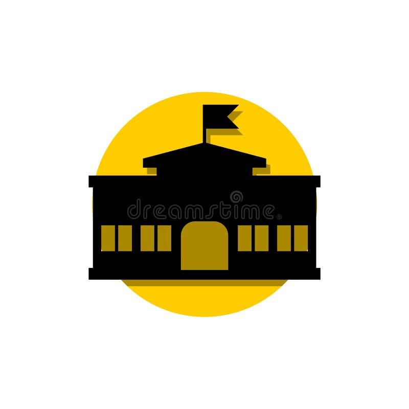 Icono plano de la escuela, muestra, logotipo, botón, concepto amarillo del círculo stock de ilustración
