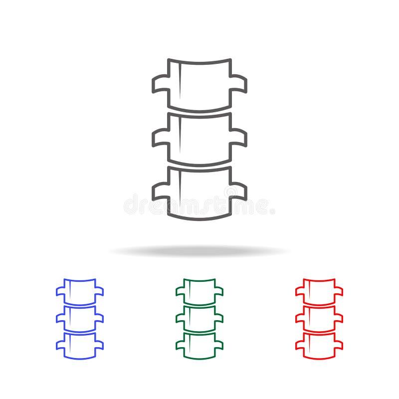 Icono plano de la espina dorsal Elementos de los iconos coloreados multi de las partes del cuerpo humanas Icono superior del dise stock de ilustración