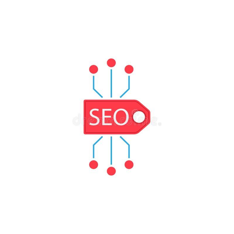 Icono plano de la etiqueta de Seo libre illustration