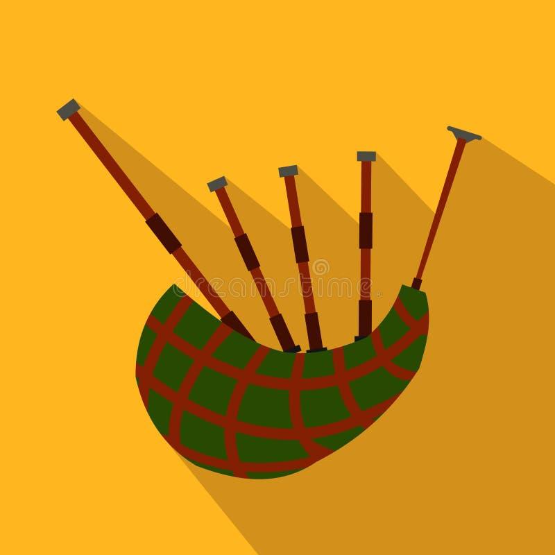 Icono plano de la gaita escocesa ilustración del vector