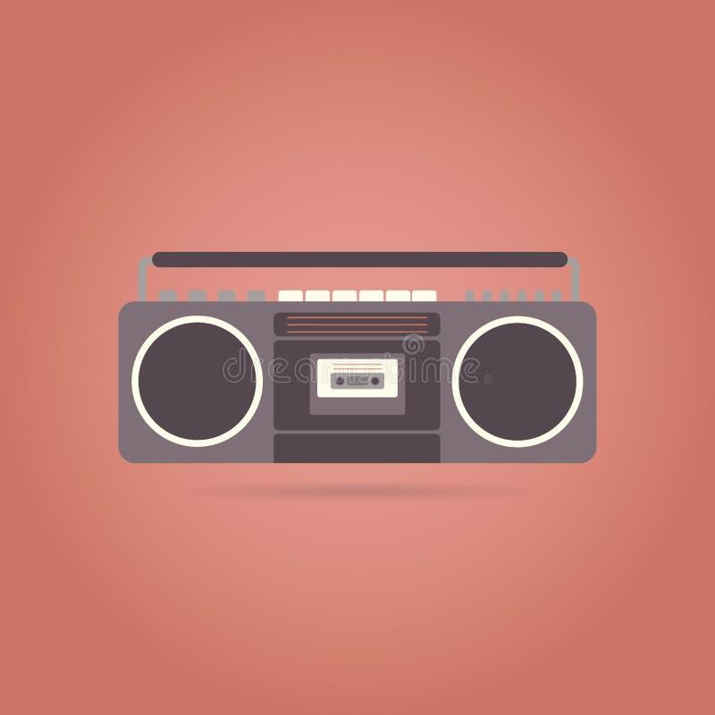 Icono plano de la grabadora Diseño retro ilustración del vector