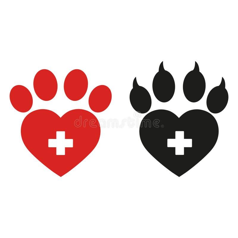 Icono plano de la impresión de la pata del perro o del gato para los apps y los sitios web animales bajo la forma de corazón libre illustration