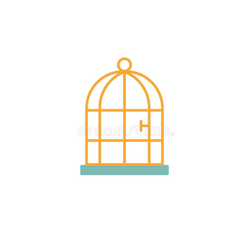 Icono plano de la jaula de pájaros libre illustration