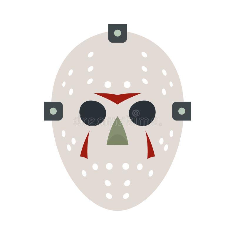 Icono plano de la máscara del hockey de Halloween stock de ilustración