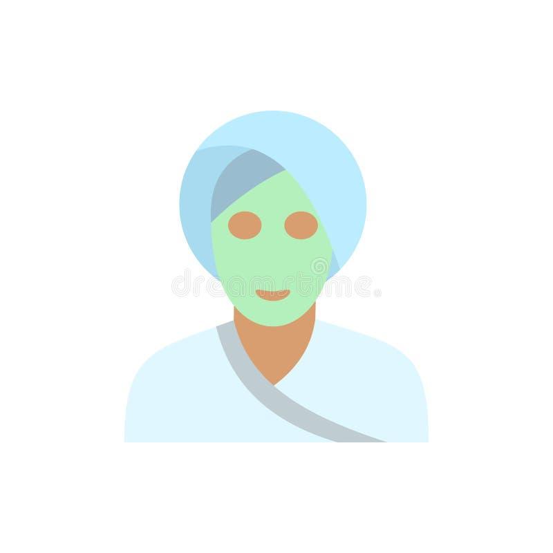 Icono plano de la máscara facial de la arcilla del balneario libre illustration