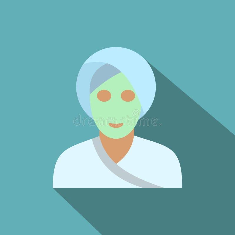 Icono plano de la máscara facial de la arcilla del balneario stock de ilustración