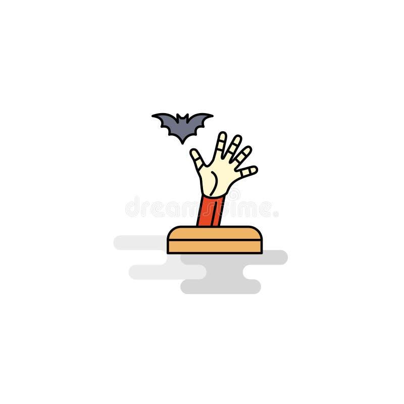 Icono plano de la mano del fantasma Vector stock de ilustración