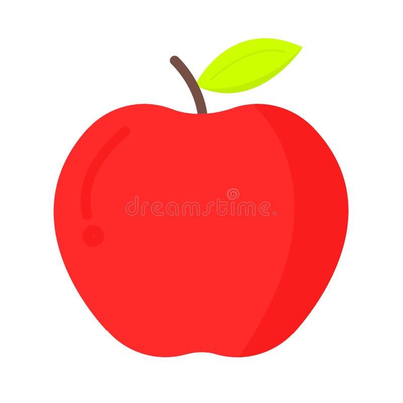 Icono plano de la manzana fresca stock de ilustración