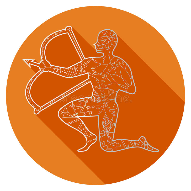 Icono plano de la muestra Saggitarius del zodiaco libre illustration