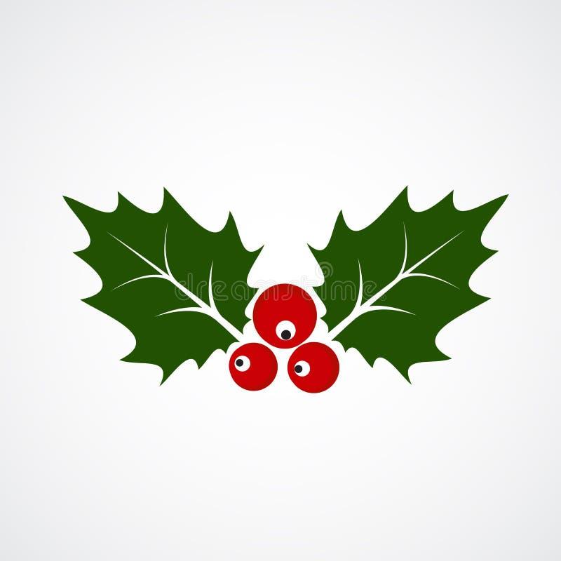 Icono plano de la Navidad Holly Berry Ilustraci?n del vector libre illustration
