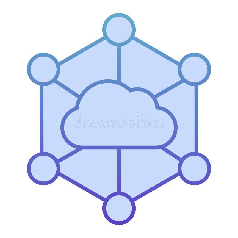Icono plano de la nube de los datos. Iconos azules para almacenamiento de información en equipos de diseño plano. Diseño de est fotografía de archivo