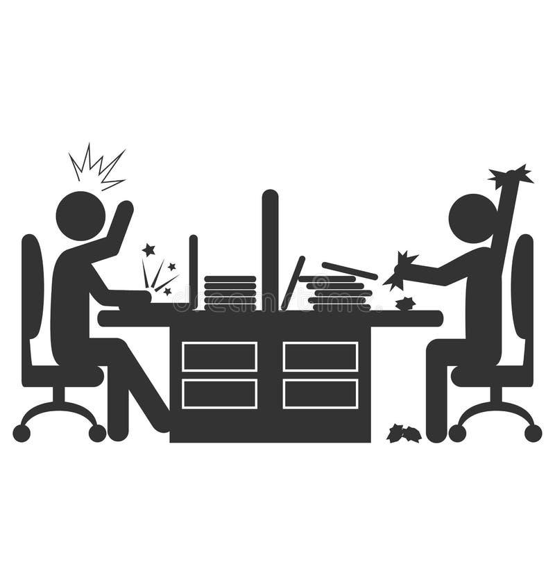 Icono plano de la oficina con los trabajadores enojados aislados en blanco libre illustration