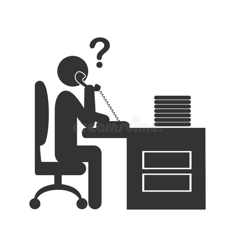 Icono plano de la oficina de la gente del teléfono aislado en blanco libre illustration