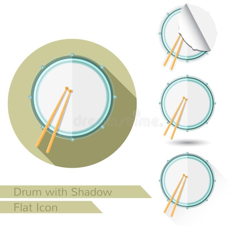 Icono plano de la opinión superior del tambor y de los palillos en blanco con la sombra ilustración del vector