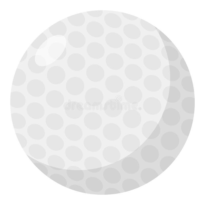 Icono plano de la pelota de golf aislado en blanco ilustración del vector