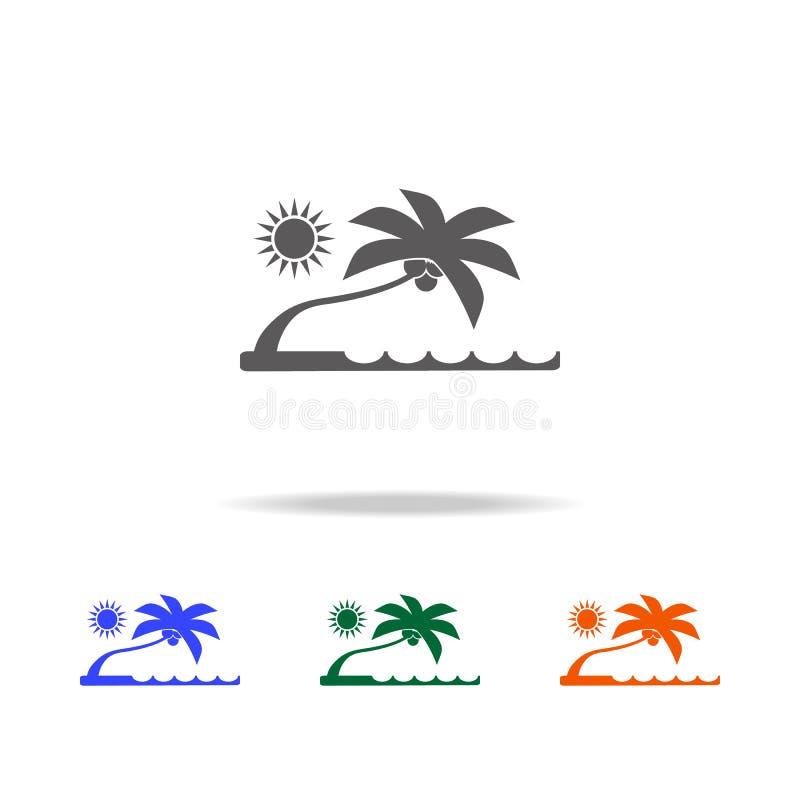 Icono plano de la playa Elemento de los iconos coloreados multi de los días de fiesta de la playa para los apps móviles del conce imagen de archivo libre de regalías