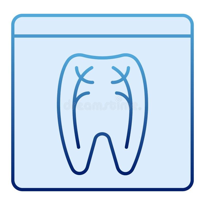 Icono plano de la radiografía dental Iconos azules de la radiografía del diente en estilo plano de moda Diseño de Roentgen ortodó stock de ilustración