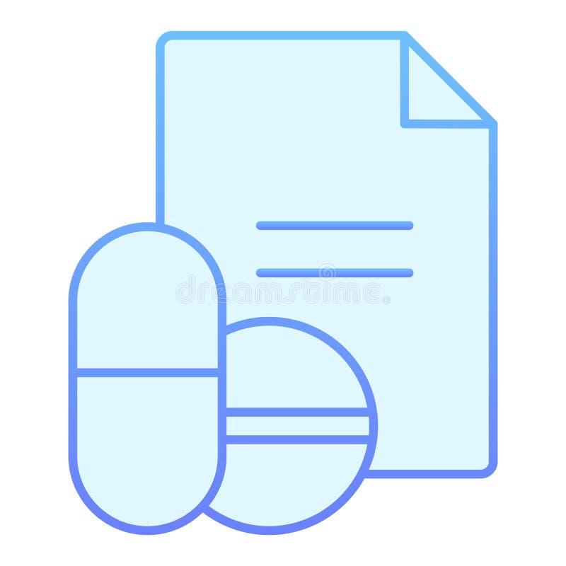 Icono plano de la receta de las drogas Iconos azules de la receta de las píldoras en estilo plano de moda Diseño del estilo de la ilustración del vector