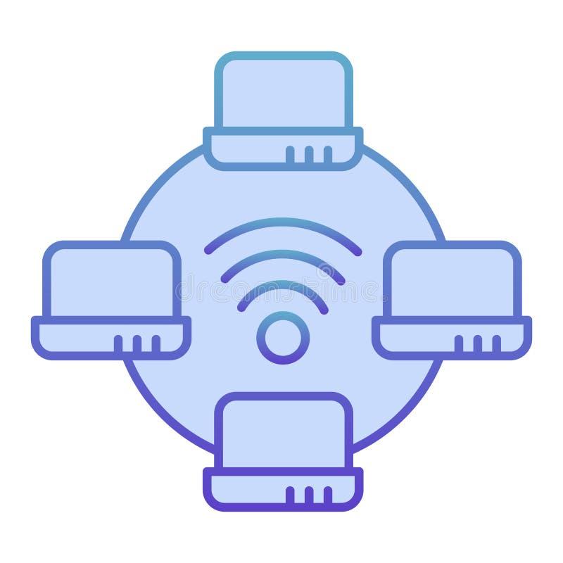 Icono plano de la red de ordenadores. Iconos azules para redes de portátiles en estilo plano moderno. Diseño de degradado de red fotos de archivo