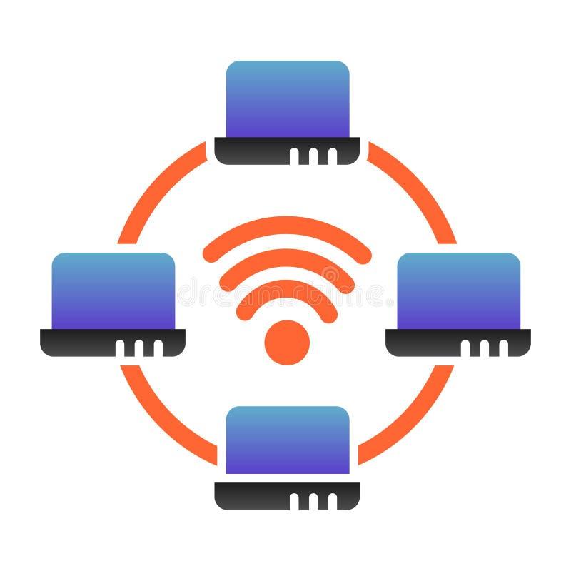 Icono plano de la red de ordenadores. Iconos de color para redes de portátiles en un estilo plano moderno. Diseño de degradado d imagen de archivo libre de regalías