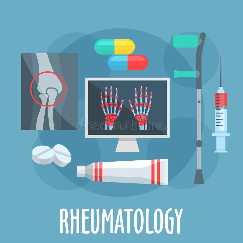 Icono plano de la reumatología para el diseño de la atención sanitaria stock de ilustración