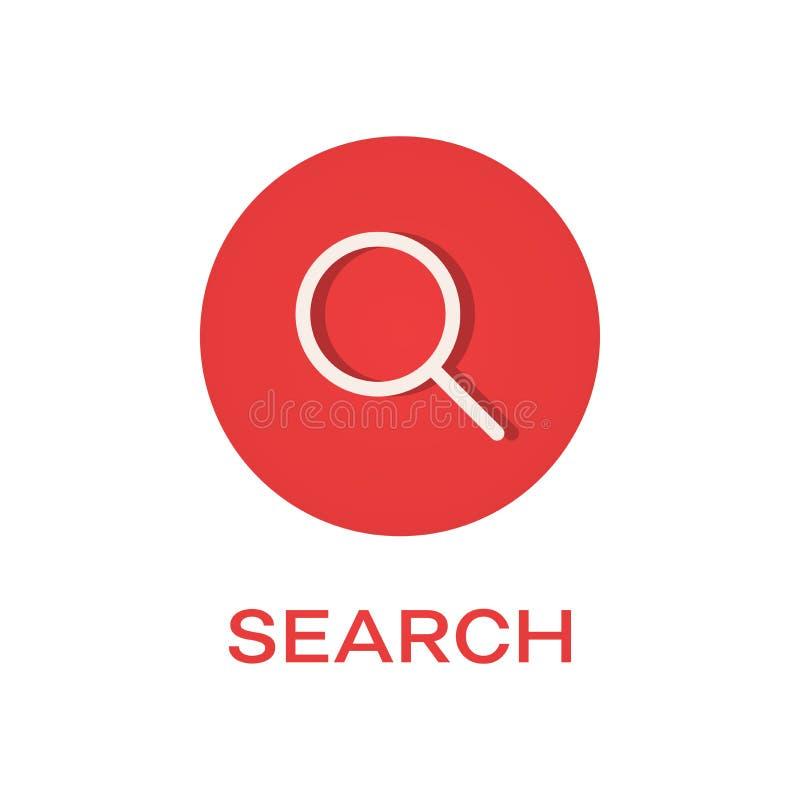 Icono plano de la ronda de la búsqueda ilustración del vector