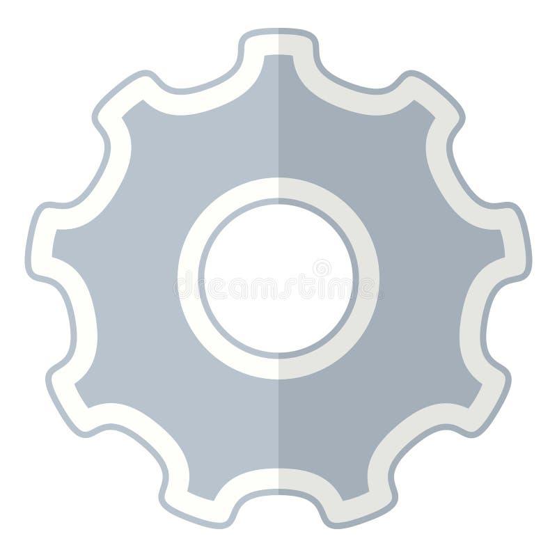 Icono plano de la rueda de engranaje de la herramienta aislado en blanco ilustración del vector