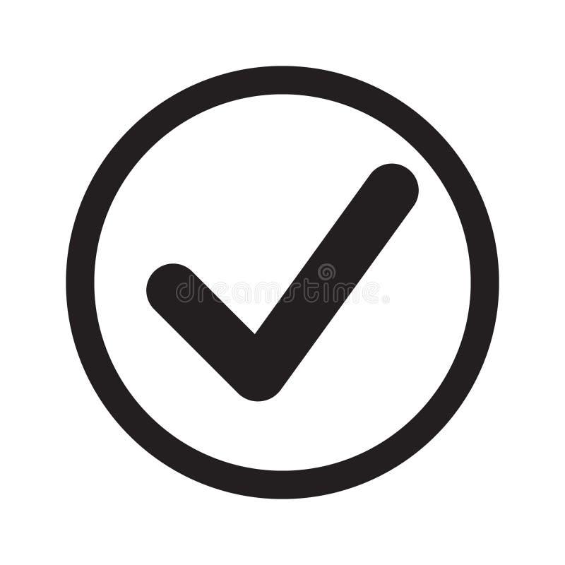 Icono plano de la señal Compruebe el icono, marca de verificación en muestra redonda stock de ilustración