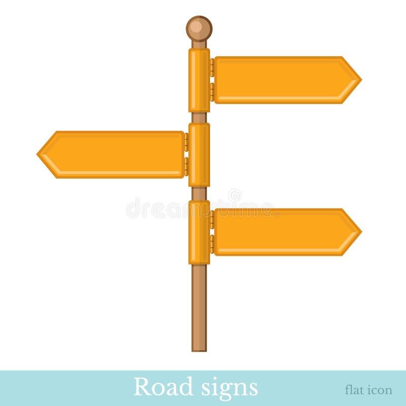 Icono plano de la señal de tráfico aislado en blanco stock de ilustración