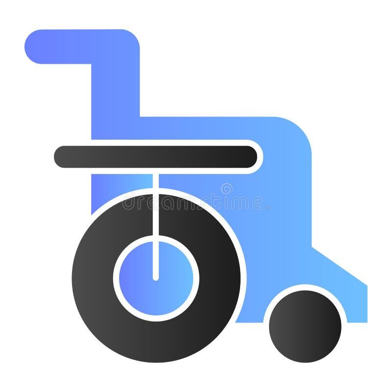 Icono plano de la silla discapacitada Iconos del color de la silla de ruedas en estilo plano de moda Diseño perjudicado del estil stock de ilustración