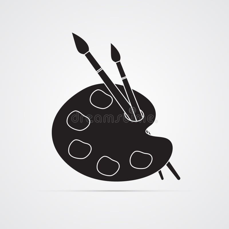 Icono plano de la silueta, diseño simple del vector Paleta del ` s del artista con las pinturas y 2 cepillos libre illustration